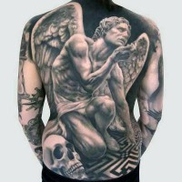 Dramatic black and white big sad angel tattoo on whole back combined with human skull