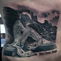Dramatic designed black and gray style Jesus with cross tattoo on back stylized with lettering