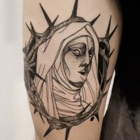 Dramatic dotwork style painted by Michele Zingales tattoo of religious woman
