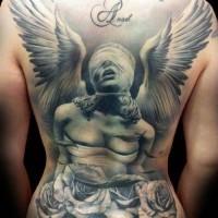 drammatico stile degnato e dipinto massiccio statua di angelo cieco con fiori tatuaggio  pieno di schiena