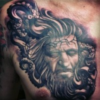 Dramatic style painted black ink nautical portrait with octopus tattoo on chest