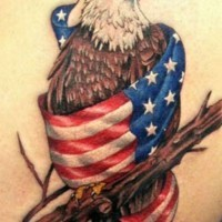 Eagle wrapped in usa flag patriotic tattoo