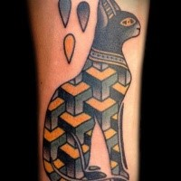 Egypt style colored tattoo of cat stylized with geometrical figures