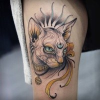 Egypt style colored tattoo of mystical cat with impressive symbol