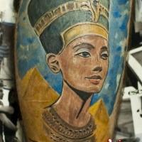Egyptian pyramids and Nefertiti princess naturally colored realistic tattoo on calf