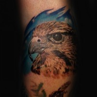 Elegant colored natural looking arm tattoo of eagle head