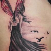 Elegant nice fairy tattoo on back