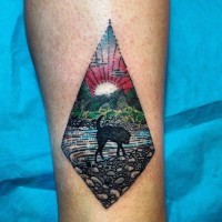 Elegant painted colored don on river shore tattoo on leg
