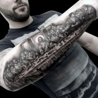 Elegant painted detailed black and white Lord's Supper picture tattoo on arm