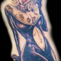 Elegant pin up zombie girl with a glass tattoo