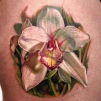 Elegant white single orchid tattoo
