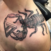 Engraving like 3D colored shoulder tattoo of demonic scorpion with mystic symbol