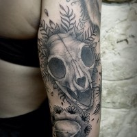 Engraving style black and white animal skull tattoo on arm with flowers