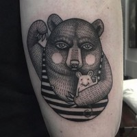 Engraving style black and white arm tattoo of funny bear with mouse