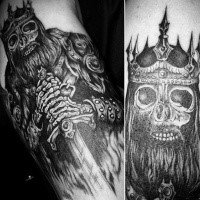 Engraving style black and white biceps tattoo of skeleton king with crown