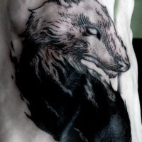 Engraving style black and white demon wolf tattoo