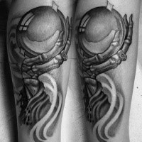Engraving style black in tattoo of fantasy hand with orb