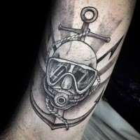Engraving style black ink anchor with human skull and divers mask