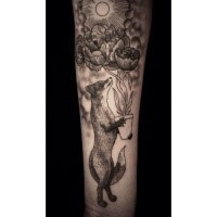 Engraving style black ink arm tattoo of fox with beautiful flowers with plant and sun