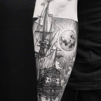Engraving style black ink arm tattoo of beautiful sailing ship with moon