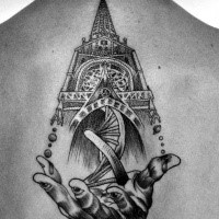 Engraving style black ink back tattoo of large medieval cathedral with DNA and human hand