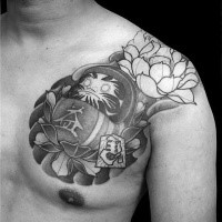 Engraving style black ink chest tattoo of daruma doll with large flowers