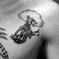 Engraving style black ink chest tattoo of original knife with skeleton hand