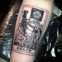 Engraving style black ink forearm tattoo of awesome Death card