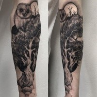 Engraving style black ink forearm tattoo of tree with owl