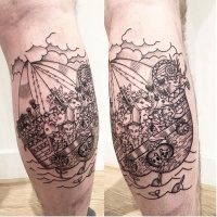 Engraving style black ink leg tattoo of sailing ship with various animals