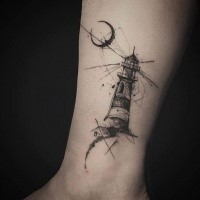 Engraving style black ink leg tattoo of light house and moon