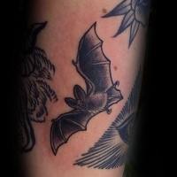 Engraving style black ink leg tattoo of flying bat
