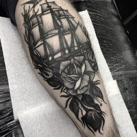 Engraving style black ink leg tattoo of sailing ship with rose