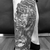 Engraving style black ink leg tattoo of Cerberus with chain