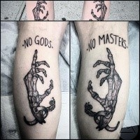 Engraving style black ink legs tattoo of human bone hands with lettering
