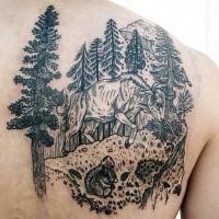 Gravur Stil schwarzes Skapulier Tattoo mit Stier im Wald