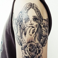 Engraving style black ink shoulder tattoo of woman with cat, rabbit and rose
