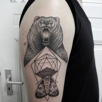Engraving style black ink shoulder tattoo of roaring bear with butterfly and figures