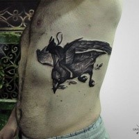 Engraving style black ink side tattoo of human flying on bird