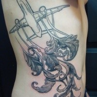 Engraving style black ink side tattoo of big plane with feather