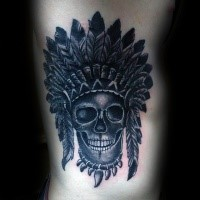 Engraving style black ink side tattoo of tribal skull with helmet