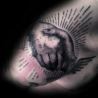 Engraving style black ink tattoo hand shake with pacific symbol