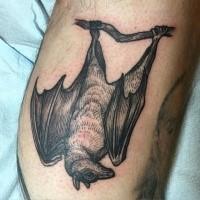 Engraving style black ink tattoo of big black bat