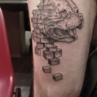 Engraving style black ink thigh tattoo of dog face with bricks