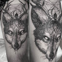 Engraving style black ink thigh tattoo of fox head with spire and horns