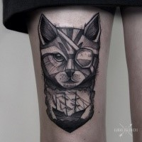 Engraving style black ink thigh tattoo of pirate cat with sailing ship