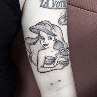 Engraving style black ink tiny arm tattoo of smiling Ariel mermaid