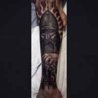 Engraving style colored leg tattoo of medieval warrior with beard