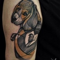 Engraving style colored shoulder tattoo of dog stylized with heart and bird