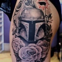 Engraving style colored thigh tattoo of Star Wars soldier with flowers